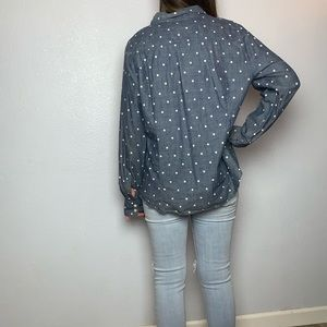 J. Crew Tops - J Crew Button Down Polka Dot Chambray